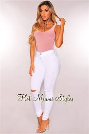 miami hot styles white ripped knee high waist