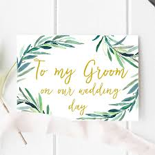 to my groom on our wedding day card botanical to my groom on our wedding day card by here s to us