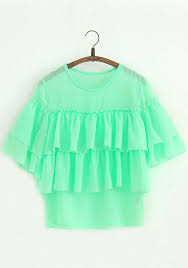 mint blouse mint green patchwork falbala sleeve chiffon blouse blouses