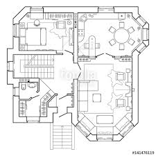 Floor Plan Of A House Design Black And White Architectural Plan Of A House Layout Of The
