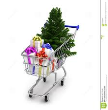 christmas tree and gifts in a supermarket trolley stock photo