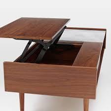 mid century pop up storage coffee table u2013 walnut west elm