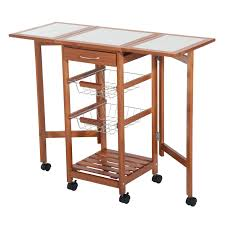 HomCom Folding Rolling Trolley Kitchen Cart Table Island With - Kitchen cart table