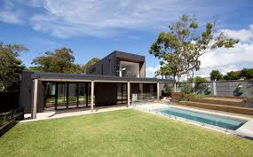 architecture custom designed modular homes with gray brick walls