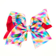 hair bow tie jojo siwa metallic rainbow watercolour dot signature hair bow