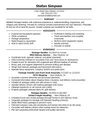 Job Experience Resume by Unforgettable Package Handler Resume Examples To Stand Out