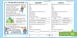village town references the boy who cried wolf aesop s fables the boy who cried wolf primary page 1