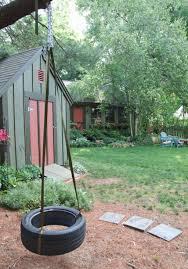 backyard garden with tire swing creating a garden swing in your