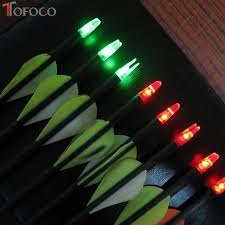tofoco 3pcs lighted manual glowing archery led lighted arrow nock