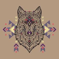 vector colorful illustration of tribal style wolf with ethnic