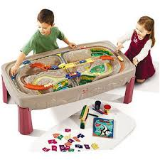 matchbox car play table step2 deluxe canyon road train and track play table walmart com