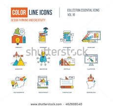 Line Desk Color Line Business Finance Illustrations Icons Stock Vector