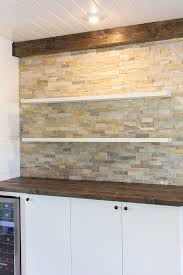 Bar Wall Shelves by Kitchen Chronicles Stacked Stone Bar Wall U0026 Diy Floating Shelves