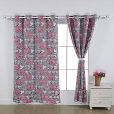 deconovo pink cat print blackout curtain for kids room 52x84 1 set