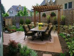 impressive diy backyard landscaping idea feat wooden pergola and