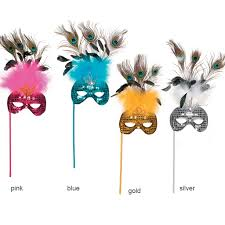 pink mardi gras mask mardi gras mask with handle set of 4 quinceañera party favors