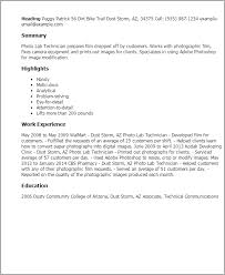 Technician Resume Examples by Professional Photo Lab Technician Templates To Showcase Your