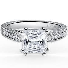 filigree engagement ring kirk kara stella princess cut channel set diamond engagement ring