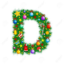 letter d christmas tree decoration alphabet royalty free