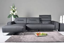 Leather Sectional Sofa With Adjustable Back Cushions In Black