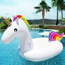 giant rainbow inflatable unicorn pool float toy outdoor fun water