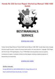 honda nx 250 service repair workshop manual 1 by lita salwasser