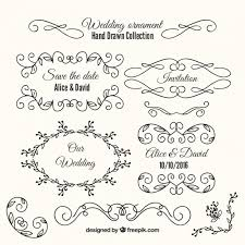 variety of wedding ornaments and frames vector free
