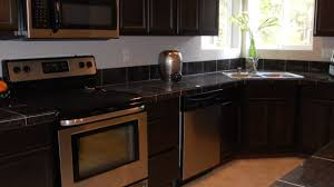 backsplash for dark cabinets gray kitchen cabinet with yellow