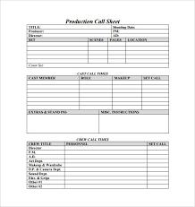 Call Sheet Template Call Sheet Template Ossaba Com