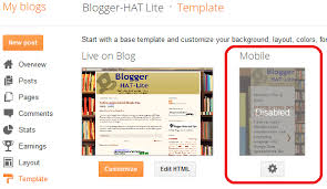 how to turn on a mobile theme template for blogs in blogger