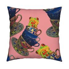 catalan throw pillow featuring groovy frog in cups by