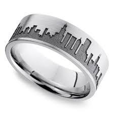 chicago wedding band skyline men s wedding ring in cobalt