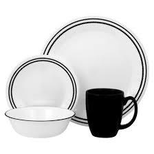corelle livingware 16pc dinnerware set brilliant black beads