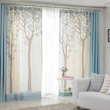 country living room curtains beige and blue color block tree print poly cotton blend country