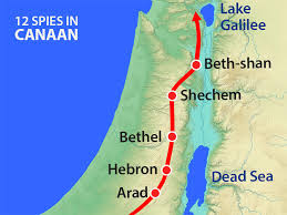 Map Of Canaan Free Bible Images Twelve Spies Sent Into Canaan Report Back