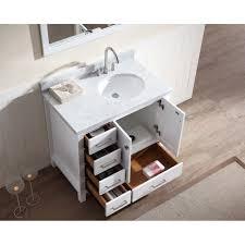 ace 37 inch single sink bathroom vanity set in white finish