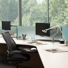 Three Monitor Desk M2 Adjustable Monitor Arm From Humanscale