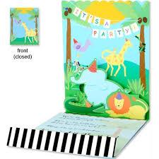 popup jungle animals birthday invitations baby cachet