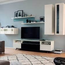 contemporary tv wall unit lacquered wood glossy lacquered wood