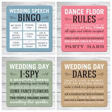 wedding beer mats table favours set of 4 designs quotes or games