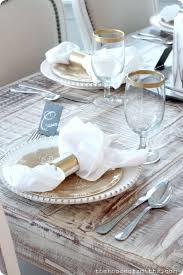 diy gold rimmed dinner glasses striped napkin rings