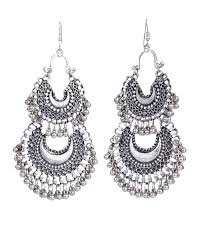 fashion earrings silver oxidised earrings golden metalic glossy finish for woman