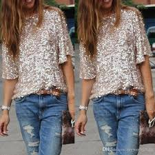 gold blouse plus size shirts blouses 2016 summer bling sequin top half