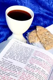 communion bible communion scripture with bible wine and bread stock photos