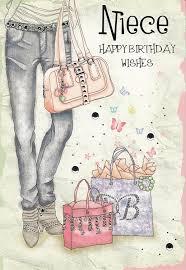 niece happy birthday wishes fashion bags birthday card amazon