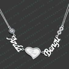 two name necklace pgk083 two names heart medallion silver name necklace