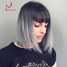 salt and pepper pixie cut human hair wigs grey ombre human hair lace front wig 8a brazilian virgin hair