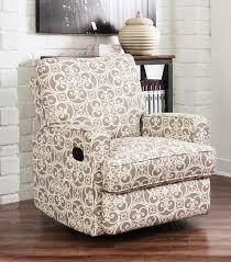 gliders u0026 rockers bella grey fabric swivel glider recliner chair