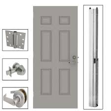 Steel Exterior Doors Home Depot by L I F Industries 36 In X 80 In 6 Panel Steel Gray Security