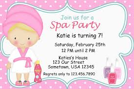 spa invitations birthday invitation card sample pinterest